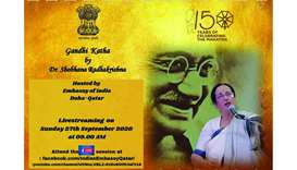 Indian embassy to livestream 'Gandhi Katha' event Sunday