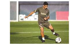 Atletico Madrid's new player Luis Suarez during a training session at the Wanda Sports City in Madri