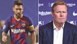 Barcelona captain Lionel Messi (left) and coach Ronald Koeman.