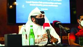 Lusail Sports Club's President Nawaf al-Mudahka speaks to the media at a press conference yesterday.