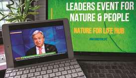 "UN Secretary-General Antonio Guterres addressing the virtual event, entitled ""Leaders' Pledge for Na"