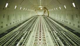 Inside of a Boeing 747 cargo jet.