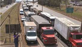 Truckers take part in a protest on the BR-381 highway yesterday in support of President Jair Bolsona