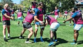 South African players train in Brisbane yesterday.