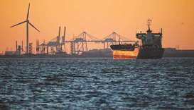 An oil tanker is seen at sunset anchored off the Fos Lavera oil hub near Marseille, France (file). T