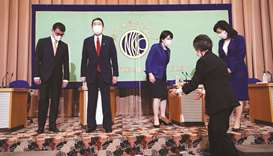 Candidates for the presidential election of the ruling Liberal Democratic Party, (from left) Taro Ko