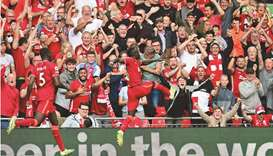 Liverpool's Sadio Mane celebrates after scoring against Crystal Palace during the Premier League. (A