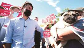 Trudeau greets supporters during a visit to a farmers market in Ontario.