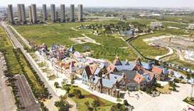 This aerial photo taken on September 17 shows the halted under-construction Evergrande Cultural Tour