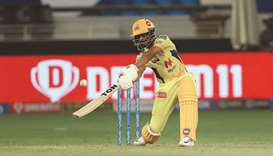 CSK's Ruturaj Gaikwad in action during the IPL match against MI in Dubai yesterday. (SPORTZPICS for