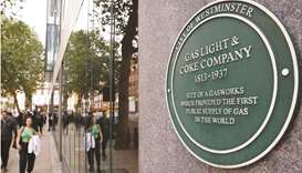 A plaque commemorating the site of the first public gasworks in the world is seen in Westminster, Lo