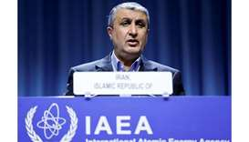 Iranian Atomic Energy Agency (IAEA) chief Mohamed Eslami delivers his speech at the opening of the I