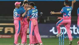 Kartik Tyagi (second from left) of Rajasthan Royals celebrates after taking a wicket during the IPL