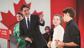 Canada's Prime Minister Justin Trudeau, accompanied by his wife Sophie Gregoire thanks their childre