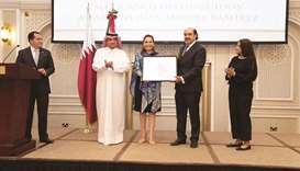 Juan Miguel Ramirez aka 'Icaro' receiving the 'Distinguished Mexican Award 2021' from Mexican ambass
