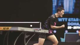 South Korea's Cho Seungmin celebrates after his win against top seed Dimitrij Ovtcharov at the WTT S