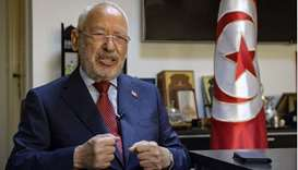 Tunisia's parliament speaker and Ennahdha party leader Rached Ghannouchi speaks during an interview