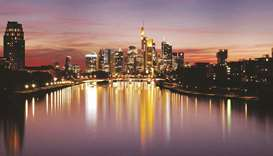 The skyline with the banking district is photographed in Frankfurt. The weaker-than-expected rebound