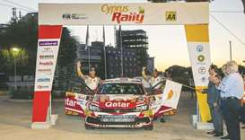 Qatar's ace rally driver Nasser Saleh al-Attiyah (right) and his co-driver Frenchman Matthieu Baumel