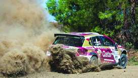 Nasser al-Attiyah in action during the Cyprus Rally yesterday.
