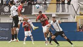 AC Milan's Daniel Maldini (second right) scores against Spezia during the Serie A match yesterday. (