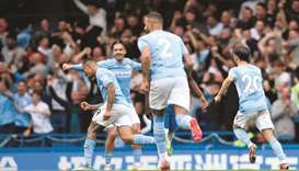 Manchester City's Gabriel Jesus (left) celebrates with teammates after scoring against Chelsea durin