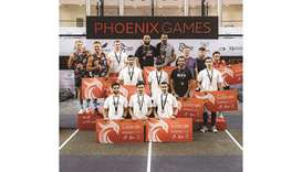Winners of the Phoenix Games pose at the Aspire Zone.