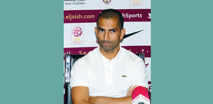 El Jaish coach Sabri Lamouchi during the pre-match press conference yesterday.