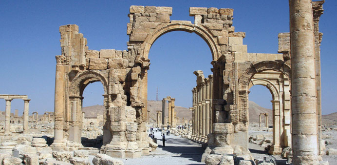 A file picture shows the Arch of Triumph in Palmyra.