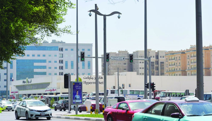 One of the new surveillance cameras on a major street in Doha PICTURE: Noushad Thekkayil