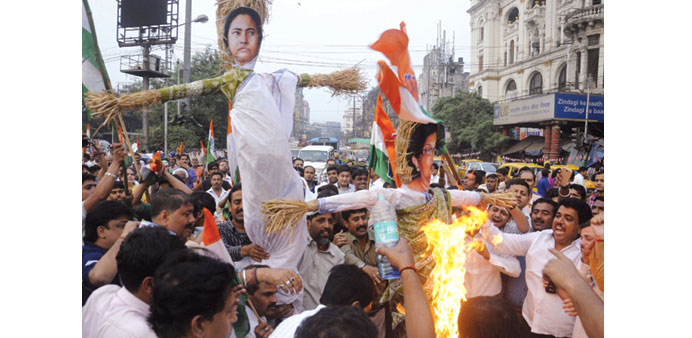 Congress activists stage a demonstration over the death of two babies allegedly due to medical negli
