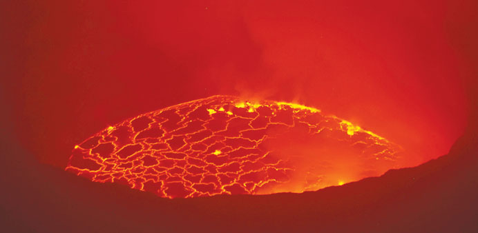 Steam and spurts of molten rock are pictured in the lava lake of Mount Nyiragongo.