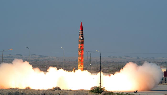 A Shaheen 1A surface-to-surface ballistic missile launched by Pakistan on Tuesday.