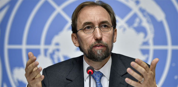 United Nations High Commissioner for Human Rights Zeid Ra'ad Al Hussein holds a press conference on