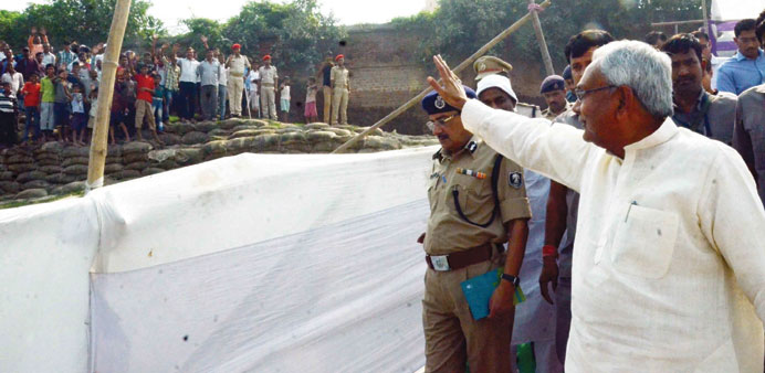 Bihar Chief Minister Nitish Kumar inspects preparations for Chhath Puja in Patna yesterday. Chhath i