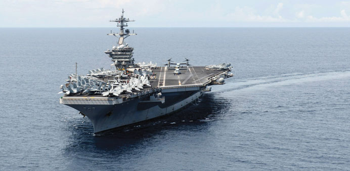 The aircraft carrier USS Theodore Roosevelt in the South China Sea.