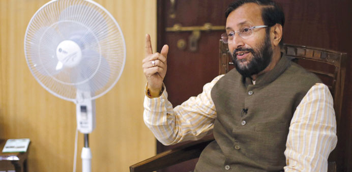 Environment Minister Prakash Javadekar speaks during an interview with Reuters inside his office in
