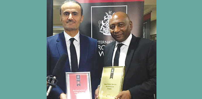 Qatar Rail's al-Bishri and Timbely with the awards.