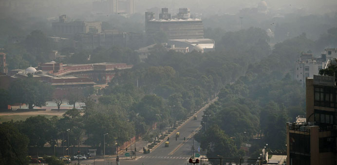 A general view showing smog enveloping New Delhi after the Diwali festival, which is notorious for h