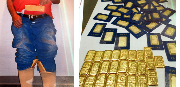 (L) Gold pieces were concealed by the traveller under his clothes. (R) The gold pieces recovered fro