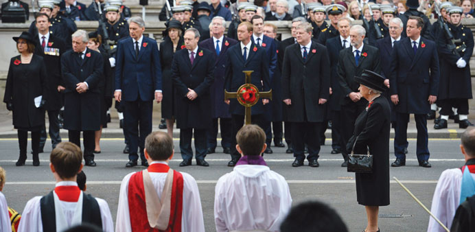 Queen Elizabeth II leads the Remembrance Sunday ceremony at the Cenotaph on Whitehall, London, yeste