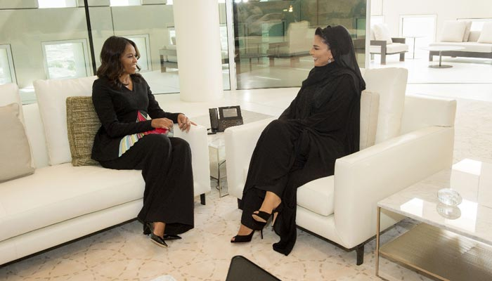 Sheikha Moza holds talks with Michelle Obama at QF