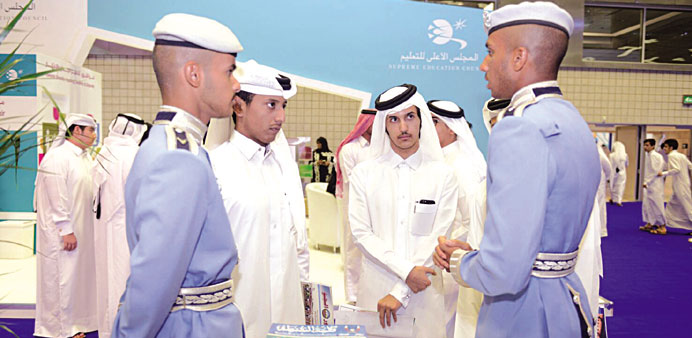 The Police College cadets interacting with visitors at the pavilion.