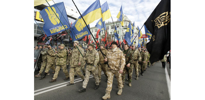 Supporters of nationalists parties during a rally in Kiev yesterday.