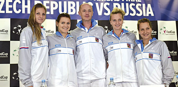Russia and Czech Republic teams at the Fed Cup pre-draw press conference.