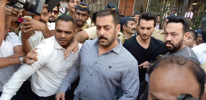 Salman Khan comes out of the Bombay High Court after being acquitted of culpable homicide.