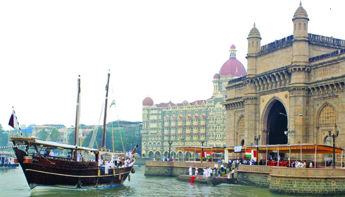 The dhow arriving at the Gateway of India in Mumbai, India.