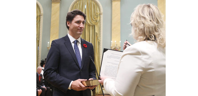 Justin Trudeau is sworn-in as Canada's 23rd prime minister during a ceremony at Rideau Hall in Ottaw