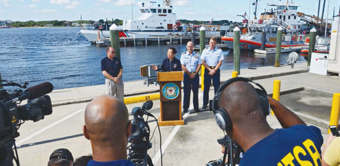 National Transportation Safety Board and coast guard officials hold a press conference on Wednesday.