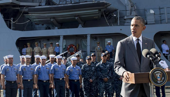 Barack Obama speaks following a tour of the BRP Gregario Del Pilar in Manila Harbour on Tuesday afte